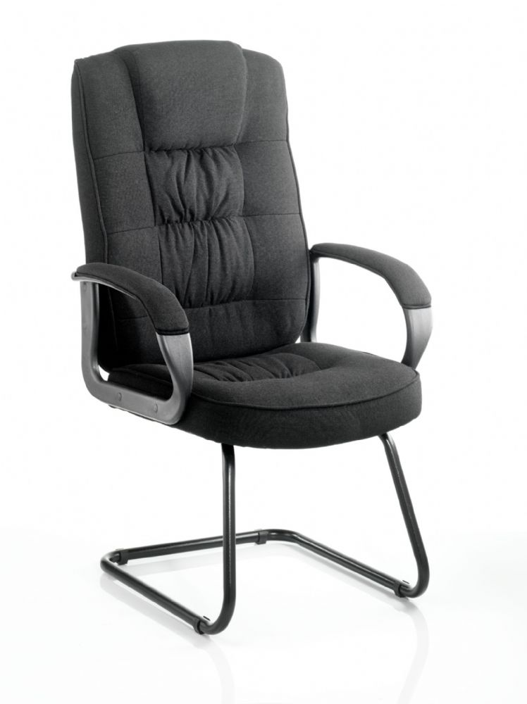 Moore Visitor Cantilever Fabric Chair With Fixed Padded Arms Black Frame Black or Blue Fabric